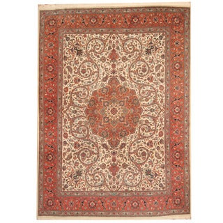 Herat Oriental Persian Hand-knotted 1940s Semi-antique Tabriz Beige/ Orange Wool Rug (9'7 x 13'2)