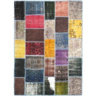 eCarpetGallery Multicolored Cotton and Wool Handmade Patchwork Rug (4'1 x 5'9)