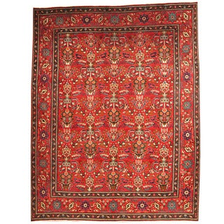 Herat Oriental Persian Hand-knotted 1970s Semi-antique Tabriz Burgundy/ Navy Wool Rug (9'10 x 12'8)