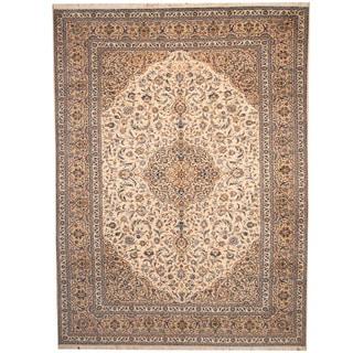 Herat Oriental Persian Hand-knotted 1950s Semi-antique Kashan Beige/ Khaki Wool Rug (9'9 x 13'2)