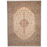 Herat Oriental Persian Hand-knotted 1950s Semi-antique Kashan Beige/ Khaki Wool Rug (9'9 x 13'2) - 9'9 x 13'2