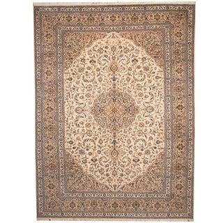 Handmade Herat Oriental Persian 1950s Semi-antique Kashan Beige/ Khaki Wool Rug (Iran) - 9'9 x 13'2
