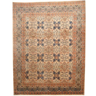 Herat Oriental Persian Hand-knotted 1960s Semi-antique Kashan Beige/ Blue Wool Rug (9'10 x 12'8)