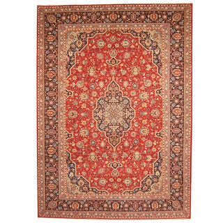 Herat Oriental Persian Hand-knotted 1960s Semi-antique Kashan Burgundy/ Navy Wool Rug (9'3 x 12'9)