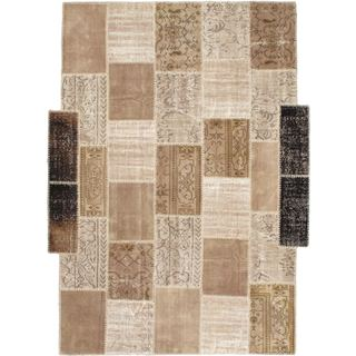 eCarpetGallery Yama Ivory/Black Cotton/Wool Handmade Ottoman Patchwork Rug (7'3 x 9'9)