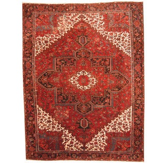 Herat Oriental Persian Hand-knotted 1960s Semi-antique Tribal Heriz Red/ Black Wool Rug (9'9 x 13'1)