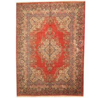 Herat Oriental Persian Hand-knotted 1980s Semi-antique Sarouk Red/ Navy Wool Rug (10' x 14')