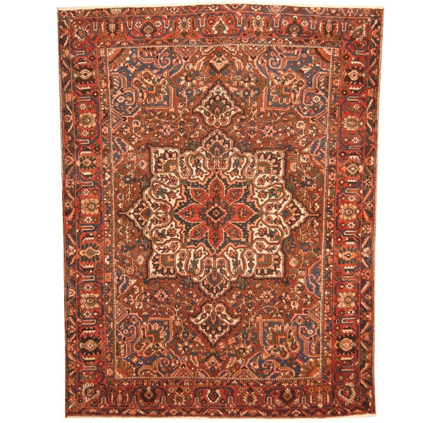 Vintage Persian Bokhara Wool Area Rug 10 X 13: Herat Oriental Persian Hand-knotted 1940s Semi-antique