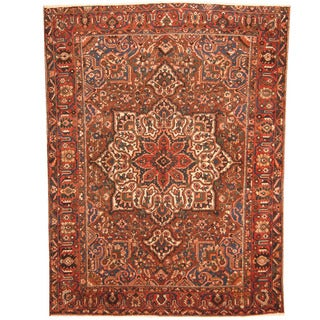 Herat Oriental Persian Hand-knotted 1940s Semi-antique Tribal Bakhtiari Brown/ Rust Wool Rug (10' x 13'1)