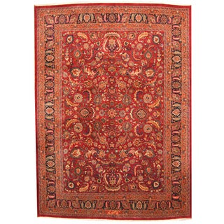 Herat Oriental Persian Hand-knotted 1960s Semi-antique Mashad Burgundy/ Navy Wool Rug (9'7 x 13'7)