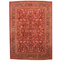 Herat Oriental Persian Hand-knotted 1960s Semi-antique Mashad Burgundy/ Navy Wool Rug - 9'7 x 13'7
