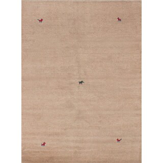 eCarpetGallery Indian Gabbeh Ivory/Blue Cotton/Wool Hand-knotted Rug (5'6 x 7'7)