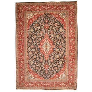 Herat Oriental Persian Hand-knotted 1960s Semi-antique Kashan Navy/ Red Wool Rug (9'6 x 13'6)