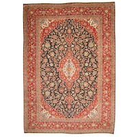 Handmade Herat Oriental Persian 1960s Semi-antique Kashan Navy/ Red Wool Rug  - 9'6 x 13'6 (Iran)