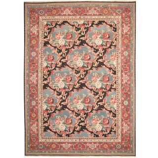 Herat Oriental Persian Hand-woven 1960s Semi-antique Soumak Kilim Charcoal/ Salmon Wool Rug (10' x 14')