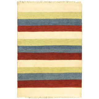 eCarpetGallery Indian Gabbeh Ivory Hand-knotted Wool Rug (4'6 x 6'7)