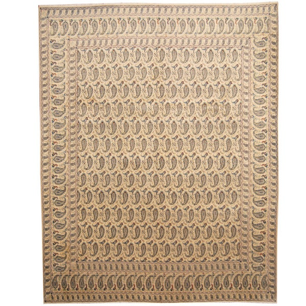 Herat Oriental Persian Hand-knotted 1960s Semi-antique Kashan Beige/ Navy Wool Rug (10' x 12'8) - 10' x 12'8