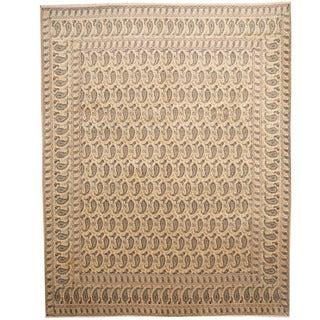 Herat Oriental Persian Hand-knotted 1960s Semi-antique Kashan Beige/ Navy Wool Rug (10' x 12'8) - 10' x 12'8