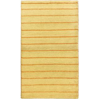 eCarpetGallery Indian Gabbeh Ivory Wool Hand-knotted Rug (3'2 x 5'3)