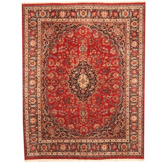 Herat Oriental Persian Hand-knotted 1960s Semi-antique Mashad Red/ Navy Wool Rug (10' x 12'7)