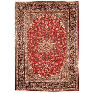Herat Oriental Persian Hand-knotted 1960s Semi-antique Isfahan Red/ Navy Wool Rug (9'9 x 13'9)