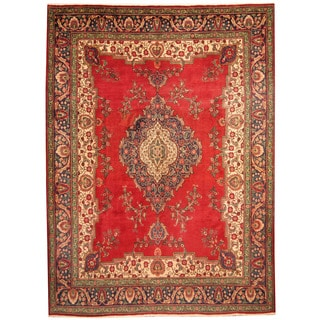 Herat Oriental Persian Hand-knotted 1960s Semi-antique Tabriz Red/ Blue Wool Rug (9'9 x 13'6)