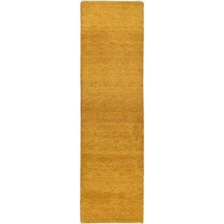 eCarpetGallery Indian Gabbeh Brown Wool Hand-knotted Rug (2'10 x 9'10)
