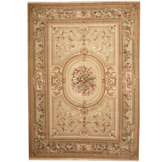 Herat Oriental Indo Hand-knotted Aubusson Beige/ Green Wool Rug (10' x 14')