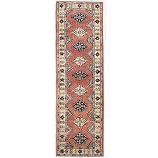 Herat Oriental Afghan Hand-knotted Kazak Red/ Ivory Wool Runner (2'8 x 8'10)