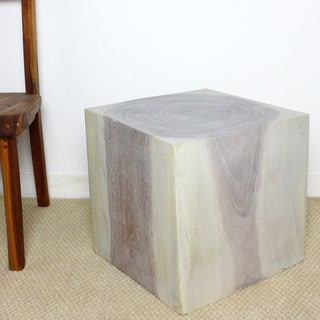 Handmade Haussmann Agate Grey Oil 18 Inch Cube Coffee Table (Thailand)