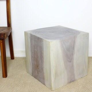 Handmade Haussmann Agate Grey Oil 18 Inch Cube Coffee Table (Thailand)