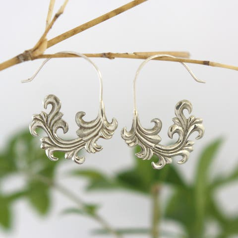Handmade White Brass French Frond Earrings by Spirit (Indonesia)