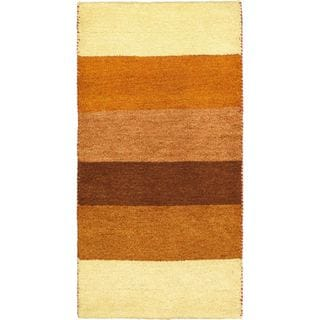 eCarpetGallery Indian Gabbeh Ivory Wool Hand-knotted Rug (2'5 x 4'7)