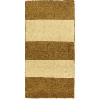 eCarpetGallery Indian Gabbeh Ivory/Brown Cotton/Wool Hand-knotted Rug (2'5 x 4'7)