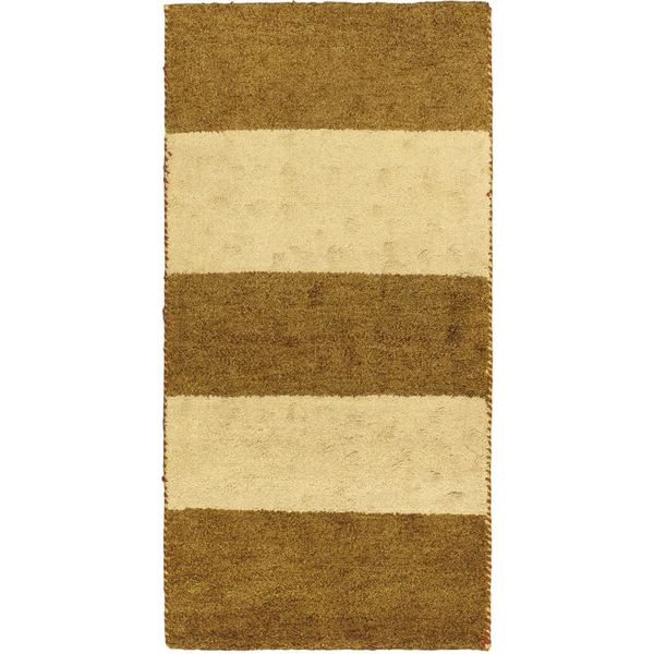 eCarpetGallery Indian Gabbeh Ivory/Brown Cotton/Wool Hand-knotted Rug - 2'5 x 4'7