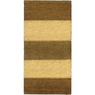 eCarpetGallery Indian Gabbeh Brown Wool Hand-knotted Rug (2'5 x 4'7)