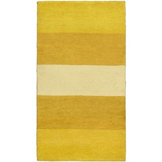 eCarpetGallery Indian Gabbeh Ivory Wool Hand-knotted Rug (3' x 5'3)
