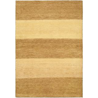 eCarpetGallery Yellow/Brown Cotton/Wool Hand-knotted Indian Gabbeh Rug (4'6 x 6'7)