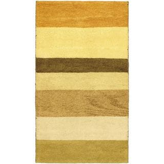 eCarpetGallery Indian Gabbeh Ivory Wool Hand-knotted Rug (3'1 x 5'4)