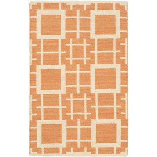 eCarpetGallery Kilim Abstract Brown/Ivory Wool and Cotton Rug (3'7 x 5'5)