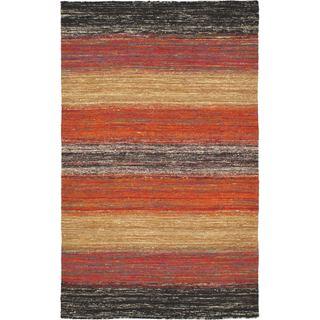 eCarpetGallery Silky Allure Orange Wool and Viscose Handwoven Kilim (4'11 x 7'10)