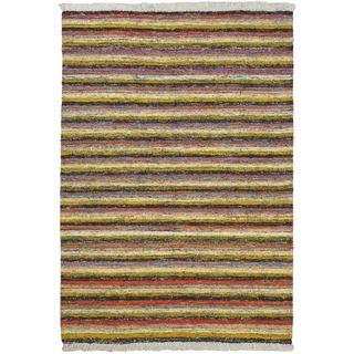 eCarpetGallery Silky Allure Black/Yellow Wool/Viscose Kilim Hand-woven Rug (4'7 x 6'7)
