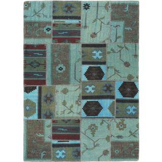 eCarpetGallery Moldovia Green/Black Cotton and Wool Kilim Handwoven Patch Rug (4'8 x 6'7)