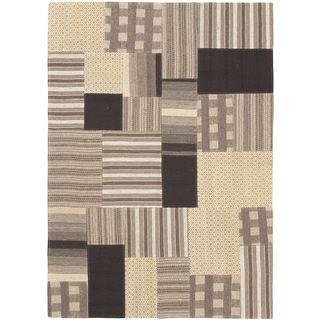 eCarpetGallery Moldovia Patch Black/Ivory Wool Kilim (4' 8 x 6' 7)