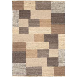 eCarpetGallery Lahor Finest Ivory Wool Hand-woven Kilim (4'7 x 6'7)