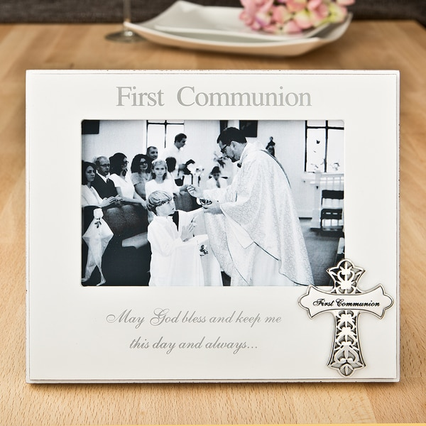 First Communion Silver and White Wood Picture Frame