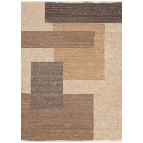 eCarpetGallery Lahor Brown/Black Cotton/Wool Kilim Handwoven Rug (4'9 x 6'7) - 4'9 x 6'7