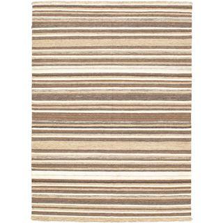 eCarpetGallery Lahor Finest Brown/Black Cotton/Wool Kilim Hand-woven Rug (4'7 x 6'3)