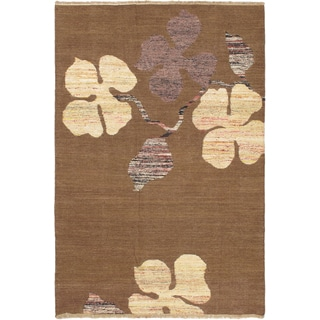 eCarpetGallery Lahor Finest Handwoven Brown/Beige Cotton and Wool Kilim Rug (5'1 x 7'6)