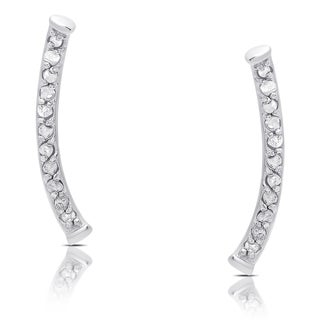Finesque Sterling Silver 1/8ct TDW Diamond Curved Climber Earrings